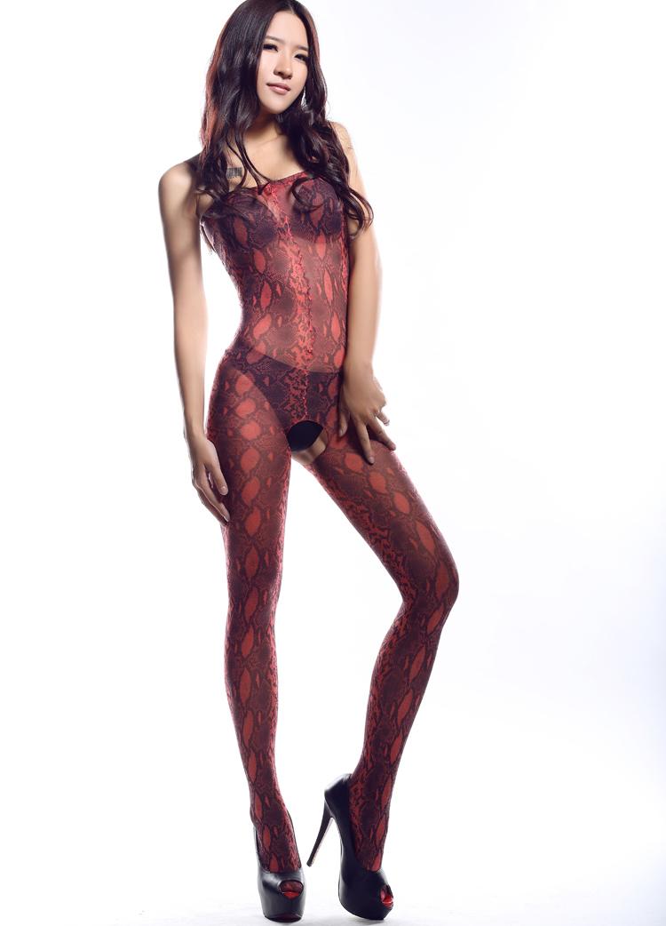 Selebritee红色豹纹开裆连身袜179179红01