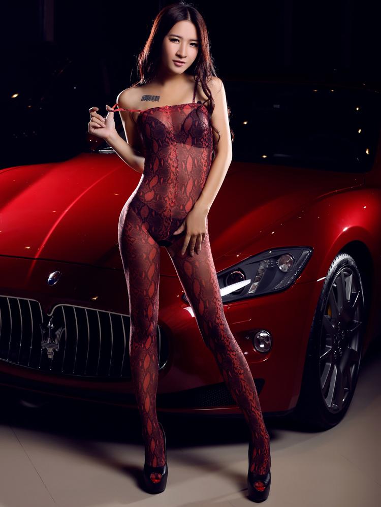 1Selebritee红色豹纹开裆连身袜17979红04