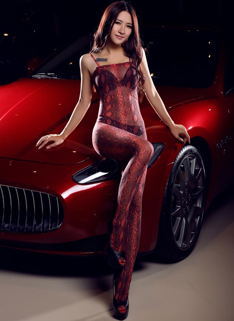 Selebritee红色豹纹开裆连身袜179179红05
