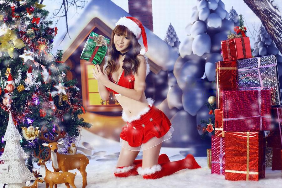 俏皮美女圣诞制服极限诱惑